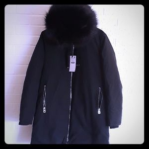 Zara outerwear with detachable fur black jacket